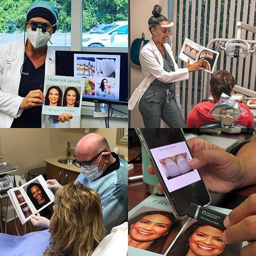 photo collage featuring dentists holding the frontier smiles cosmetic smile gallery book