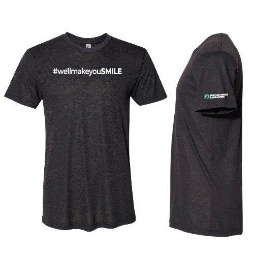 tshirt printed with #wellmakeyousmile